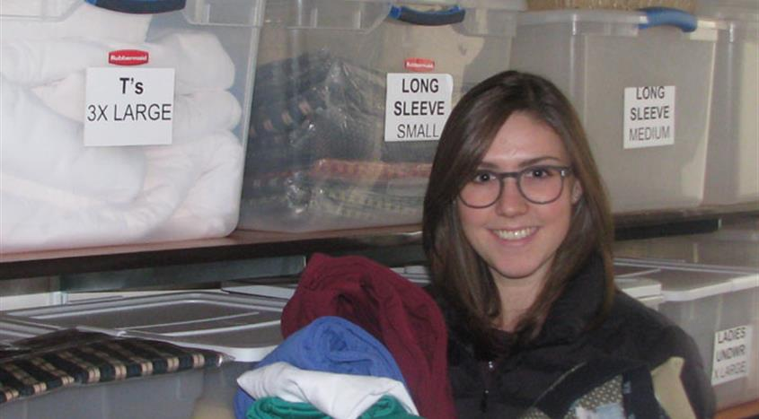 VCH-Vancouver volunteer Shera Fisk delivers clothing from the Emergency Clothing Program to VGH patients in need.